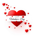red heart - symbol of love valentines day card or vector image