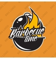 Retro barbecue logo design with fire vector image vector image