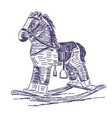 rocking horse hand drawn vector image