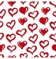 Seamless heart pattern Hand drawn with ink Red vector image