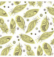 seamless tribal pattern with feathers in graphic vector image vector image