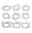 Set of round floral frames Nine decorative vector image