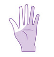 Silhouette nice hand with all fingers and palm vector image