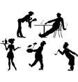 Silhouettes of people the restaurant business vector image vector image
