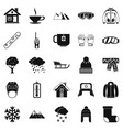 snowy weather icons set simple style vector image