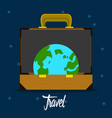 travel bag with an earth globe travel concept vector image