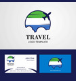 travel sierra leone flag logo and visiting card vector image vector image