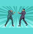two men businessman fighting pattern without head vector image vector image