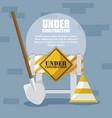 under construction label with barricade fence vector image vector image
