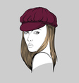 Woman with burgundy hat vector image vector image