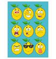 yellow lemon fruit cartoon emoji face collection vector image vector image