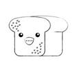 kawaii bread leaf bakery character vector image