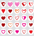 25 heart round icons vector image