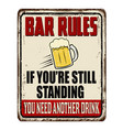 bar rules vintage rusty metal sign vector image vector image