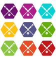 baseball bat and ball icon set color hexahedron vector image vector image