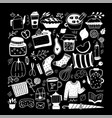 big set doodle tea cups mugs teapots cookie vector image