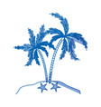 blue shading silhouette of island with palms tree vector image vector image
