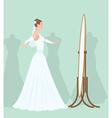 bride in the mirror vector image vector image