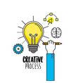 bulb with hand with pencil and creative icons vector image