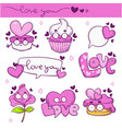 collection kawaii valentine day love vector image