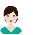 dark hair woman with green shirt on a white vector image vector image