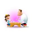father drinking tea with daughter vector image