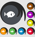 fish icon sign Symbols on eight colored buttons vector image vector image