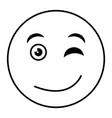 flirtatious face emoticon kawaii character vector image vector image