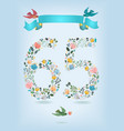 floral number sixty five with ribbon and birds vector image vector image