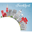 frankfort skyline with gray buildings blue sky vector image vector image