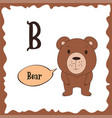 funny cartoon animals b letter cute alphabet for vector image