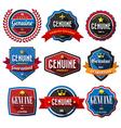 GENUINEretro vintage badges and labels Flat design vector image