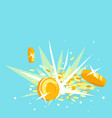 gold coins explosion concept vector image vector image