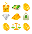 Gold Money and Financial Icons vector image vector image