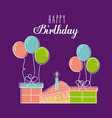 happy birthday card greeting with cake gift vector image vector image