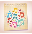 Happy music notes note paper cartoon vector image vector image