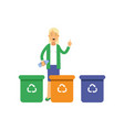 happy woman standing near trash containers with vector image vector image
