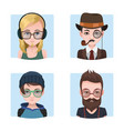 hipster guys collection vector image