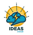 ideas cloud of brain thunderbolt lightning vector image vector image