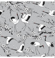 Japanese cranes and blossoms seamless pattern