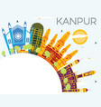 kanpur india city skyline with color buildings vector image vector image