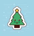 kawaii christmas tree pine star happy decoration vector image vector image