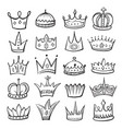 king crown sketch icon monarch and royalty emblem vector image vector image