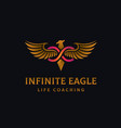 luxury golden eagle with infinity sign logo vector image