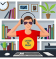 man putting on headphones to listen to music vector image vector image