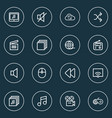media icons line style set with sound off vector image