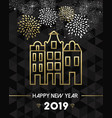 new year 2019 amsterdam netherlands travel gold vector image