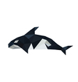 origami orca dolphin isolated on white background vector image vector image
