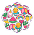 patches in flower pattern fashion image vector image