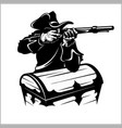 pirate with a gun vector image vector image